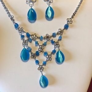 Blue Cats Eye Necklace And Earrings
